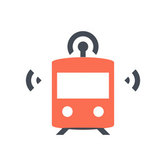 Smart train icon - orange train with wifi symbols - Pixel perfect icon