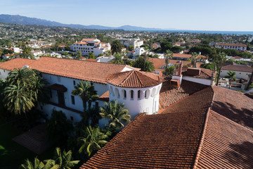 View from roof of the old Santa Barbara courthouse on a clear winter day