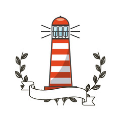 lighthouse icon with decorative wreath of leaves and ribbon over white background. colorful design. vector illustration