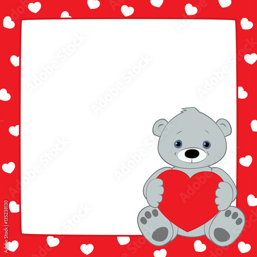 Vector red frame with hearts pattern. Gray teddy bear sitting in the ...