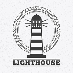 lighthouse icon over white background. marine and sea concept. vector illustration