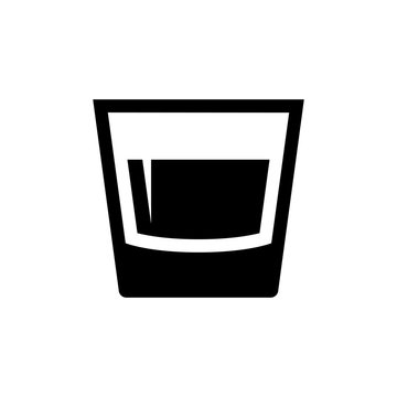 Glass icon. Black icon isolated on white background. Glass silhouette. Simple icon. Web site page and mobile app design element.