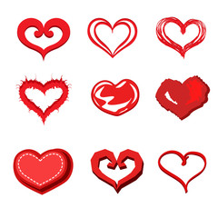 Heart valentine icon set/Reds heart on white background vector illustration