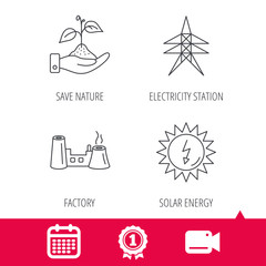 Achievement and video cam signs. Electricity station, factory and solar energy icons. Save nature linear sign. Calendar icon. Vector
