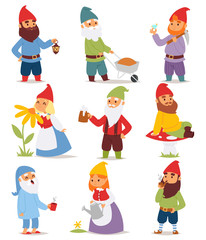 Cartoon gnome characters vector illustration.