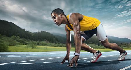 Sport. Runner on the start. Wall mural