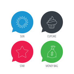 Colored speech bubbles. Sun, star and cupcake icons. Money bag linear sign. Flat web buttons with linear icons. Vector