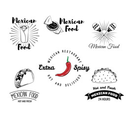 Mexican Food Chili Pepper. Nachos Sauce Salsa. Taco. Sombrero. Badges Labels. A restaurant or Cafe. Mexico Food. Traditional Mexican Cuisine. An Isolated Object.