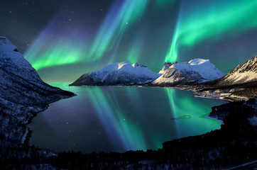 Printed kitchen splashbacks Northern lights Norway