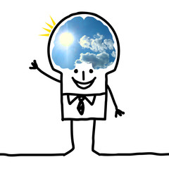 Cartoon Big Brain Man - blue sky and optimism