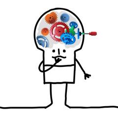 Cartoon Big Brain Man - gear and concept