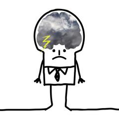 Cartoon Big Brain Man - pessimism and clouds