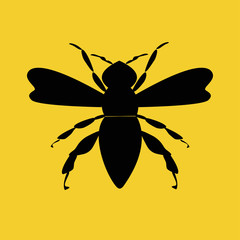 Black bee on yellow background. Logo for company, product. Vector illustration.