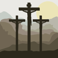 scene sunset with crucifix in hill vector illustration