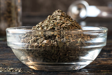 Dried basil in an ingredient bowl
