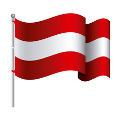 silhouette color with waving flag of austria and shadow vector illustration