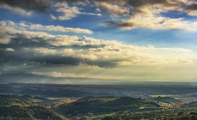 Maremma panorama. Countryside, hills and sea. Tuscany, Italy