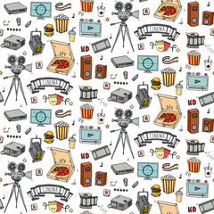 Seamless pattern Hand drawn doodle Cinema set. Vector illustration. Movie making icons. Film symbols collection. Cinematography freehand element: Camera Photo Camera Pizza Popcorn Projector Microphone