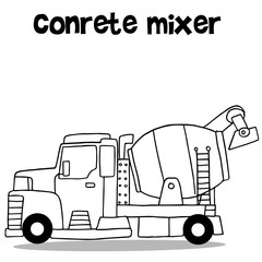 Concrete mixer with hand draw
