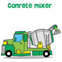 Concrete mixer of vector art