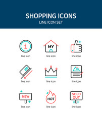 Shopping Line Icon Set
