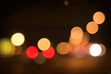 Blurry of the traffic lights street view, Bokeh of night life st