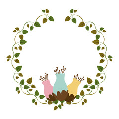 colorful ornament creepers with flowerbud vector illustration