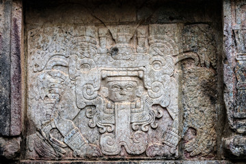 Ancient Mayan murals decorating the Venus Platform at Chichen Itza, Yucatan, Mexico