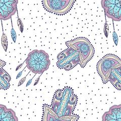 Bohemian pattern with hamsa and dreamcatcher for invitation, sticker, flash tattoo, mehendi,yoga design.