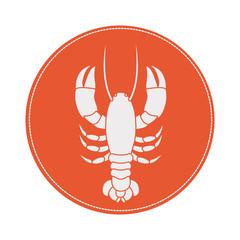 circular border with silhouette crab vector illustration
