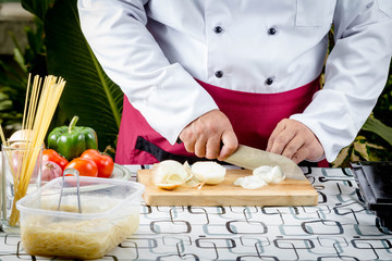 chef sliced onion