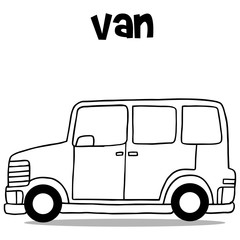 Hand draw transportation of van