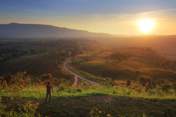 The beauty of the natural environment during sunrise and sunset at Khao Kho District ,Phetchabun Province in Thailand is a beautiful location and very popular for photographers and tourists