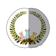 sticker colorful arch of leaves with pastel flowebud vector illustration