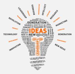 Vector word cloud of ideas light bulb / vector illustration eps-10.