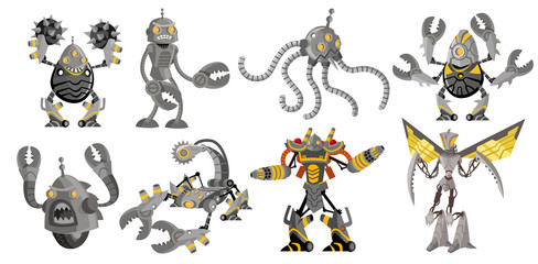 eight powerful battle robots drones