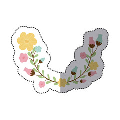 sticker decorative half arch with flowerbud vector illustration