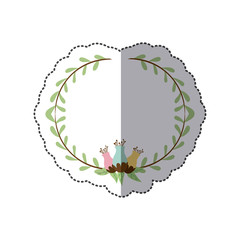 sticker decorative half border with leaves and flowerbud vector illustration