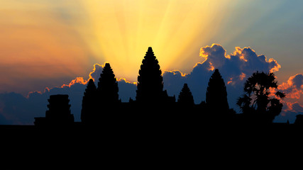 Sunrise at Angkor Wat Temple, Siem reap in Cambodia.