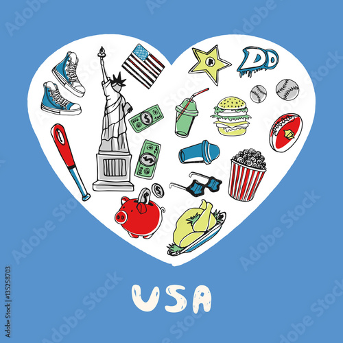 Love United States Of America White Heart Filled American Culture