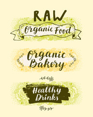 Raw Organic Food, Organic Bakery, Healthy Drinks. Set of hand drawn restaurant, cafe, bakery menu labels, badges, stickers, logos, banners with zen art doodle background