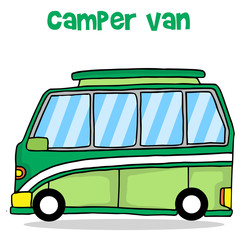 Camper van of transportation vector