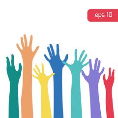 Colorful hands up