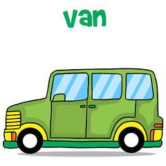 Illustration of green van cartoon
