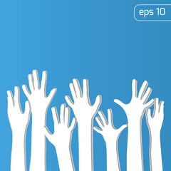 White hands up background