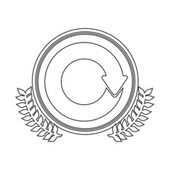 monochrome silhouette circle with decorative olive branch and reloaded symbol vector illustration