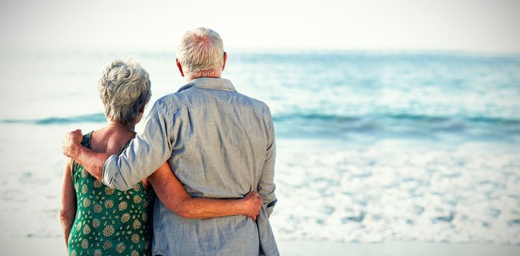 Rear view of senior couple