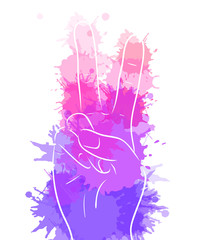 Hand showing peace with watercolor splashes. Vector element for printing on T-shirts, covers, postcards and your creativity