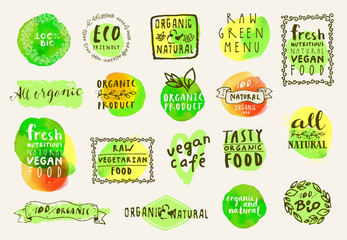 Organic food labels set. Collection of fresh healthy food icons