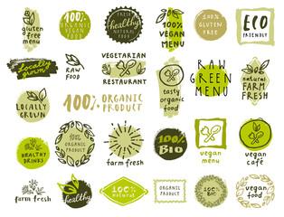 Set of organic food labels for vegetarian restaurants